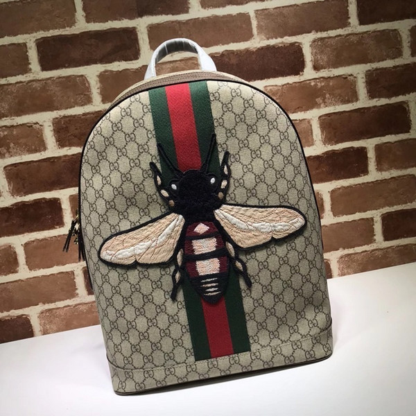 2019 Top Quality Celebrity design Letter embossed Embroidered Bee animal canvas leather Backpack Man Woman 442892 Canvas Travel bag