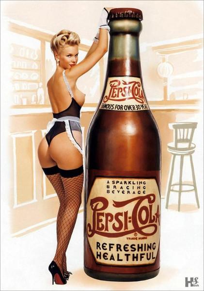 Vintage Cola Pin-Up Girl CARTEL DE SEDA Pintura decorativa 24x36 pulgadas