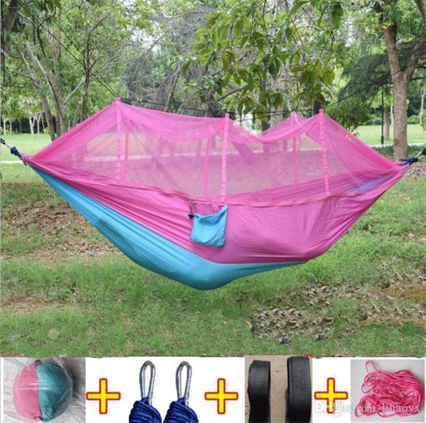 12 color 260 140cm portable hammock with mo quito net ingle per on hammock hanging bed folded into the pouch for travel to798