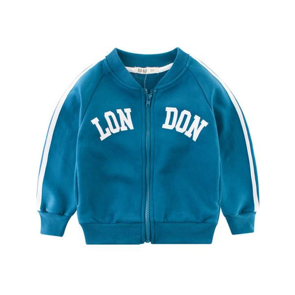 New Arrival Cotton Zipper Boys Coats Autumn Winter Striped Letter Casual Children Boys Jackets Sportswear Blue Outerwear Coats Kids Clothes