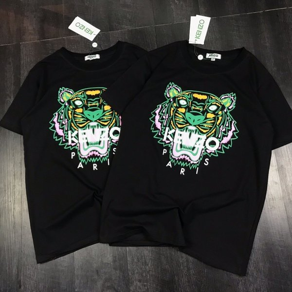 3fea63f9 Men and women new tiger head embroidery couple models short T-shirt  mercerized cotton fabric