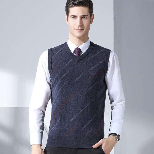 GREVOL Hommes Gilet Unicolore Couleur Pulls Casual Style 100% Laine Tricoté Hommes D'affaires Sans Gilet Géométrique Rayé 8158