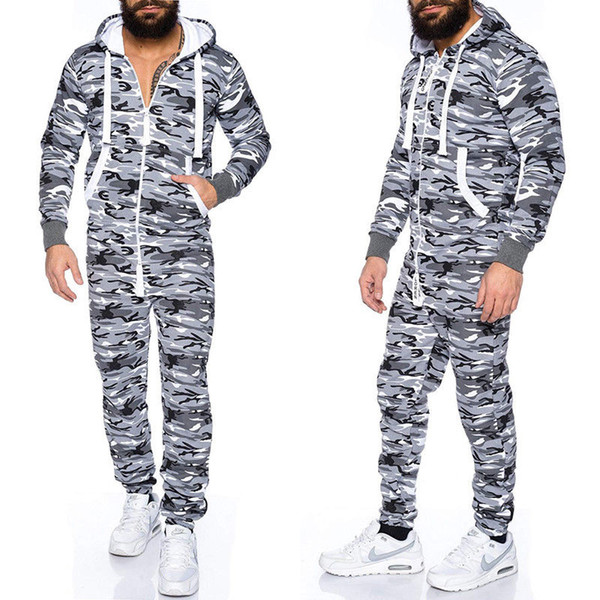 New Mens Camouflage Hooded Zip up Jumpsuits Male Fashion One Piece Sets Jumpsuit Long Sleeve Pockets Jumpsuits Man New