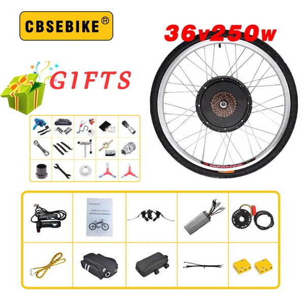 "CBSEBIKE Rear Motor wheel Kits 36V 250W torque sensor 20"" 24"" 26"" 28"" 29"" 700c EBike Electric Bicycle high speed Conversion Kit"