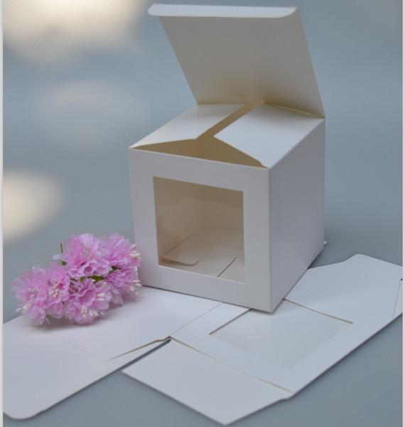 Logo costume 7 * 7 * 7cm Praça caixa de papel de papel sabão / cubo branco com janela de PVC, caixa de janela de plástico, embalagem 1000pcs caixa