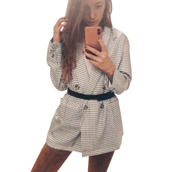 Kadınlar Vintage Ekose Blazer Uzun Coat Çentikli Yaka Yaka Uzun Kollu Gevşek Casual Business Suit Palto Dış Giyim