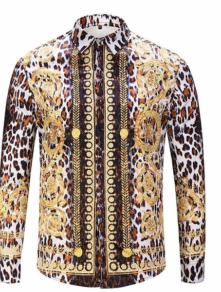Luxury Fashion Flora Leopard Print Mens Shirts Designer Lapel Neck Long Sleeve Luxury Tops Men Casual Tees