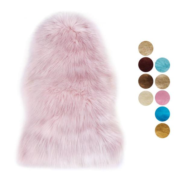 Faux fur Artificial tapete de pele de carneiro Almofada lavável Almofadas Tapetes macios Lã peluda Tapetes quentes e macios para sala de estar