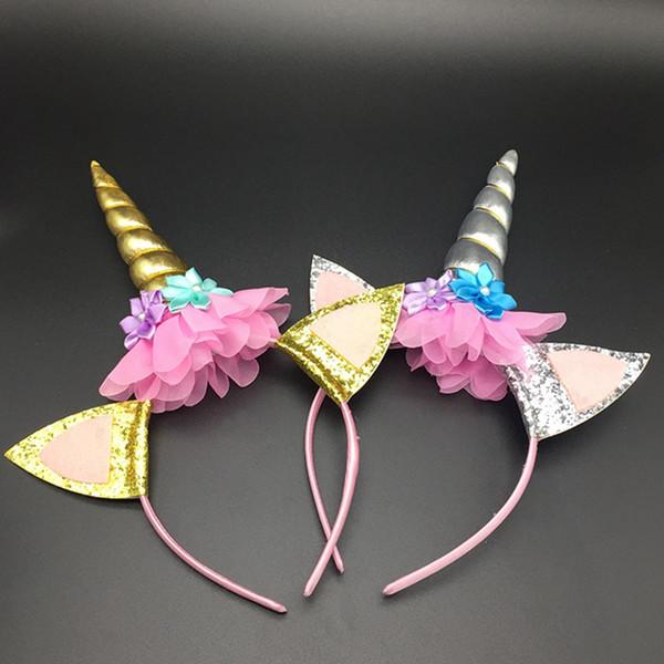 Carino principessa festa di compleanno per bambini Unicorno a forcina Fiore per bambini Fascia per capelli Cinturino per capelli Accessori per capelli per bambini Carino fascia per unicorno Orecchio di gatto