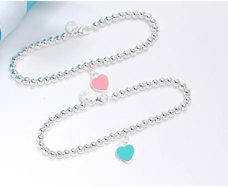 1: 1 925 bracelets de perles en argent sterling pour femmes en forme de cœur de bracelets en argent pur