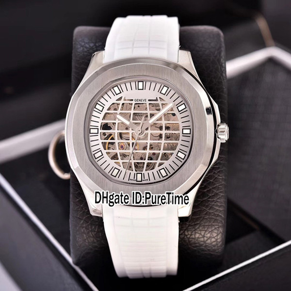 New Classic 5711 Steel Case White Skeleton Globe Dial A2813 Automatic Mens Watch White Rubber Sports Watches Cheap Puretime PB306A1