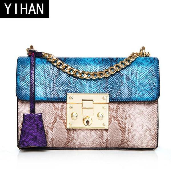 Factory wholesale brand handbag customized snake leather PU shoulder bag fashion exquisite lock chain bag elegant snake color woman hand bag
