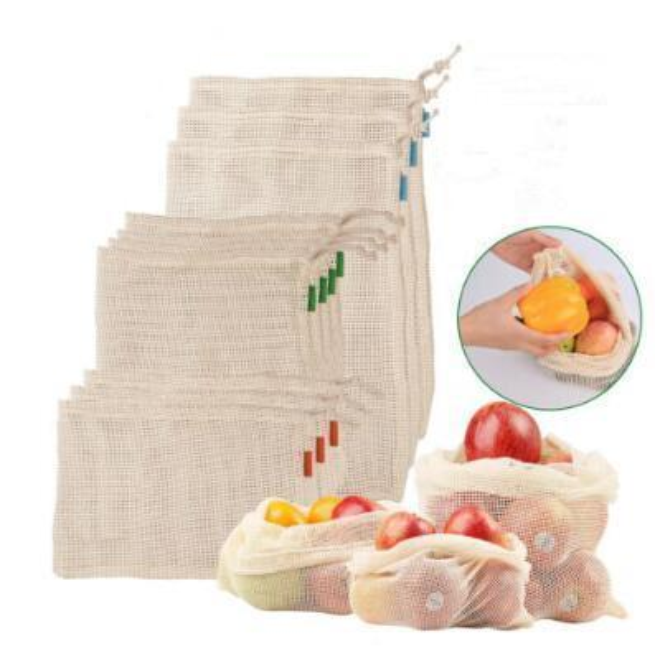3pcs/set Reusable Cotton Mesh Grocery Shopping Bags Vegetable Fruit Fresh Bags Storage Pouch Mesh Drawstring Bag Outdoor Bags CCA11578 30set