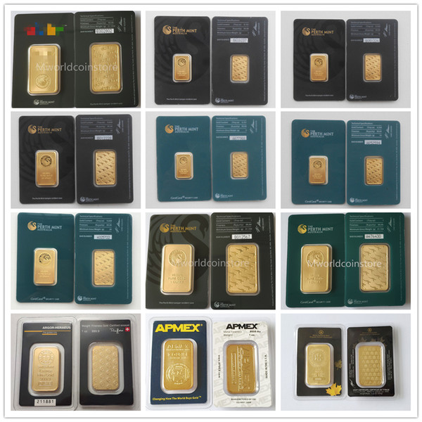 best selling Hot 1 troy OZ gold plated bar Perth mint Apmex Argor Heraeus high quality gold plated bar business gifts free shipping