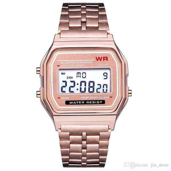 top popular Rose gold LED Digital watch F-91W Watches F91 Fashion -thin LED Change Watches WR Sport Watch for Kids adult 2020