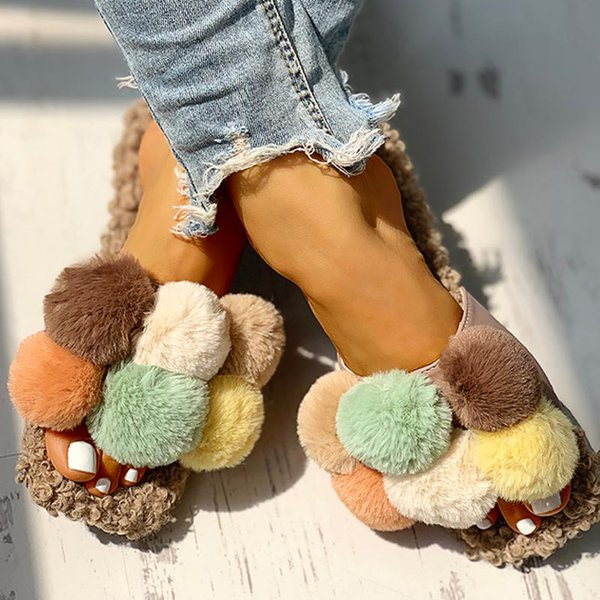 Kadınlar Sevimli Pamuk Kısa Peluş Düz Terlik Kızlar Casual Açık parmak Ayakkabı loafer'lar Bayanlar Terlik Yaz Vahşi Plaj Ayakkabı Terlik