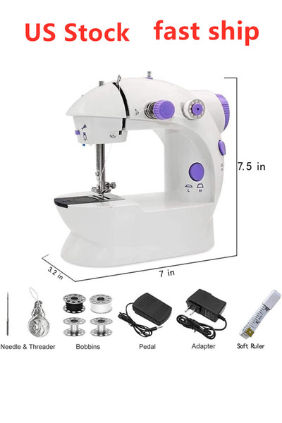 top popular US Stock Mini Handheld Pedal Sewing Machines Dual Speed Double Thread Multifunction Electric Tread Rewind Sewing Machine FY7043 2021