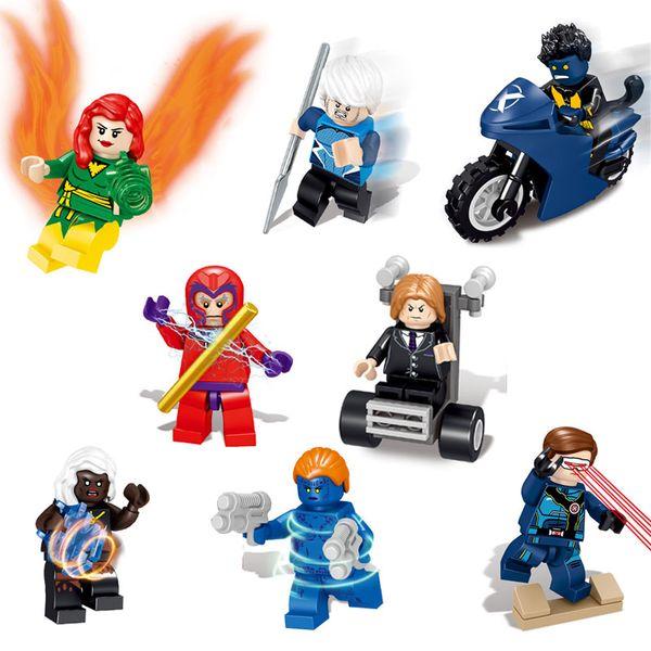 Super Hero X-Men Cyclops Profesor X Quicksilver tormenta Mystique Magneto bestia Phoenix mini figura de acción de ladrillo módulo para los niños