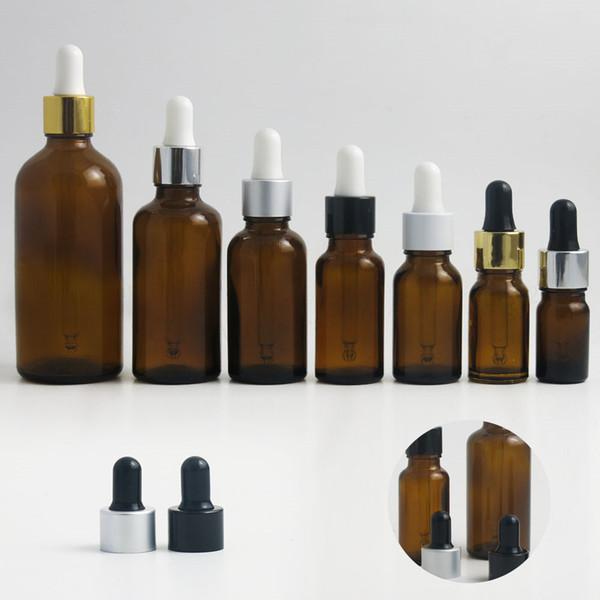 200 x 100 ml Botella de cuentagotas de cristal de ámbar vacío de ambar de 1 oz Botellas marrones para e Cig E Contenedor de gotero líquido 20 ml 15 ml 10 ml 5 ml