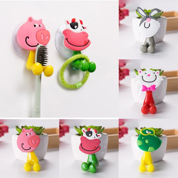 Cute Cartoon Sucker Toothbrush Holder Suction Cup Shaver Hooks Bathroom Set Accessories Eco-Friendly Pig Rabbit Cat Frog