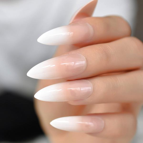Gradeint Natural Nude Pink Stiletto falso uñas falsas Ombre francés extra largo en punta Salon Press On Wear UV Nail Art Tips