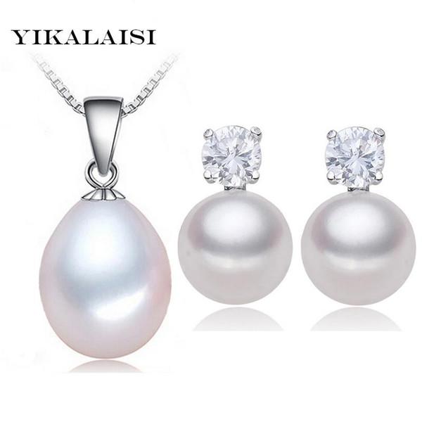 IKALAISI 2017 100% naturale d'acqua dolce ciondolo perla incastonata Orecchini 925 collana girocollo gioielli in argento per le donne