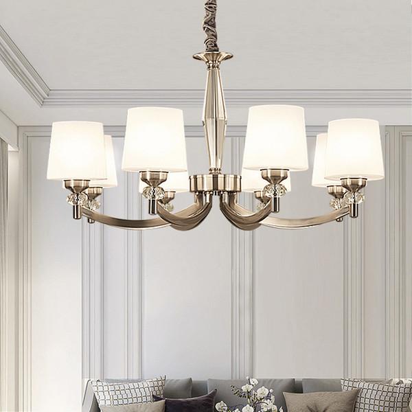 Poste Moderno Araña Led Iluminación Nórdica Sala de estar Dormitorio Decoración Luz Lámpara de cristal de lujo Forma Lustres de bronce blanco