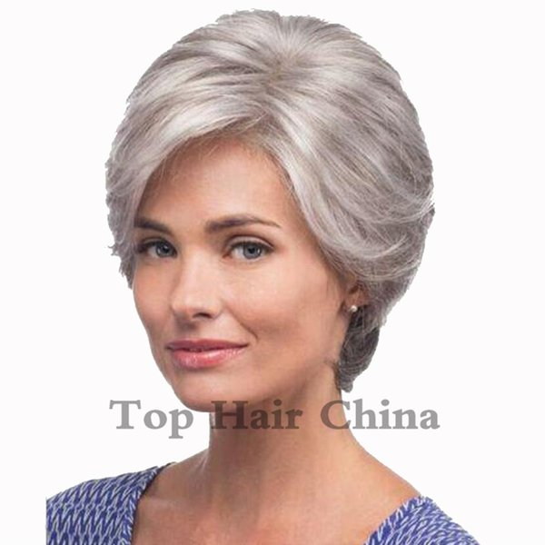Top Hair Hot Health Super Cute gray/grey mix White Short Straight Synthetic Hair Full Women's Wig