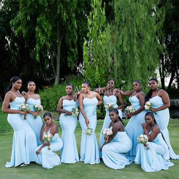 Arabic Light Blue Mermaid Bridesmaids Dresses 2019 Spaghetti Strap Open Back Stain Wedding Guest Maid Of Honor Gowns Plus Size Cheap