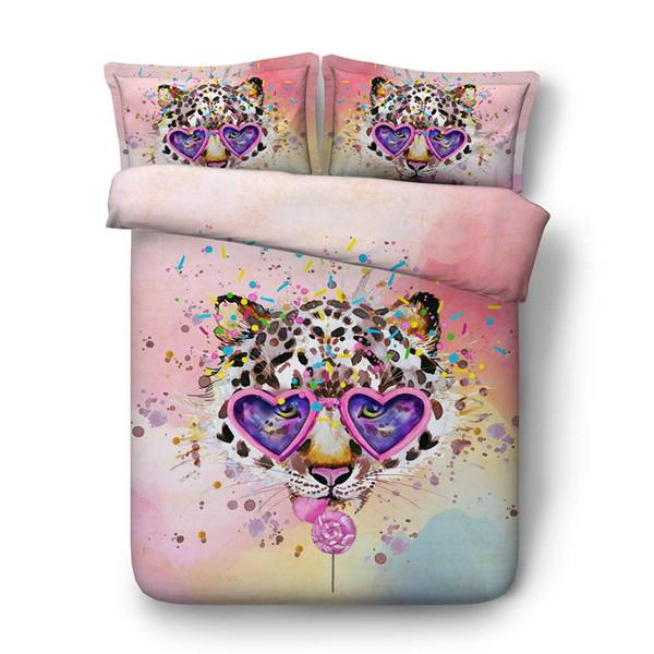 3D Leopard Head Bedding Girls Duvet Cover Sets Teens Boys Decorative 3 Piece Bedspread 2 Pillow Shams No Comforter Blue Pink Coverlets
