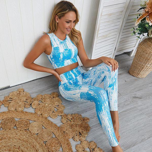 Conjunto de yoga sexy de 2 piezas para mujer, estampado digital Tie Dye, almohadilla extraíble, trajes de secado rápido, sujetador deportivo, blusas sin mangas, leggings largos y delgados
