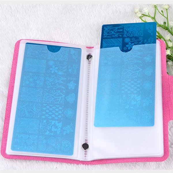Nail Art Printing Template Card Package Leather Nail Stamping Plate Bag Case 12 Slots Folder Manicure Stamp Stencil Holder Tools