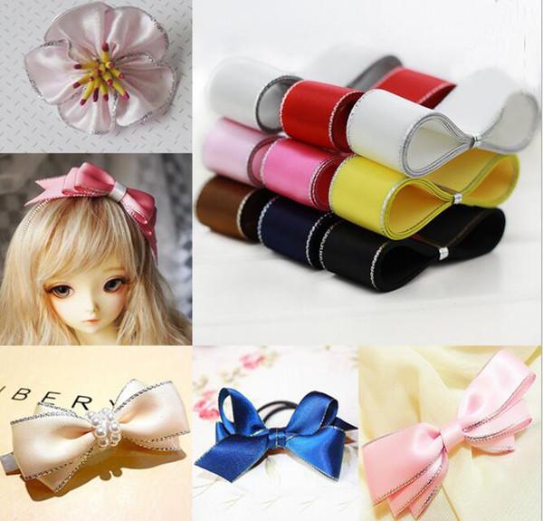 10 Farben wählen Größe 22 mm Breite Polyester Silber eingefasst Ripsband Geschenkbänder Zubehör DIY handgefertigte Materialien