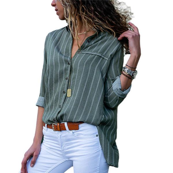 Nuove donne di arrivo Camicette 2018 Autunno pulsante a righe Donna Top e camicette Casual manica lunga camicetta Camicia da donna ufficio S-3XL