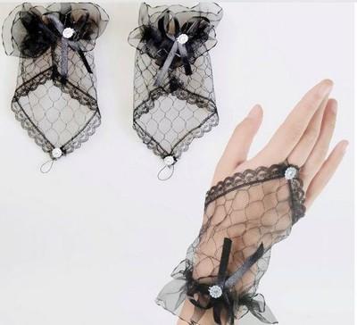 Schöne schwarze fingerlose Spitze Hochzeit Handschuh weiß kurze schiere Spitze Braut Zubehör moderne Ring Finger Handgelenk Länge Brauthandschuhe mit Bogen