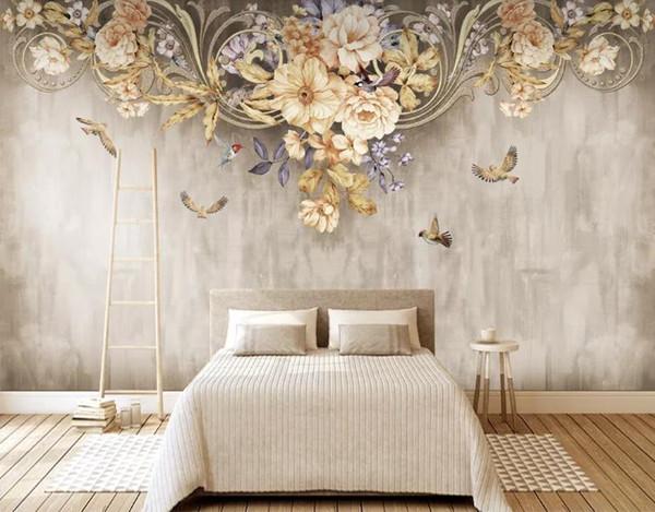 Papier peint personnalisé 3D stéréoscopique Idyllique fleur et oiseau fleur Art Mural Murale Salon Chambre Papier Peint