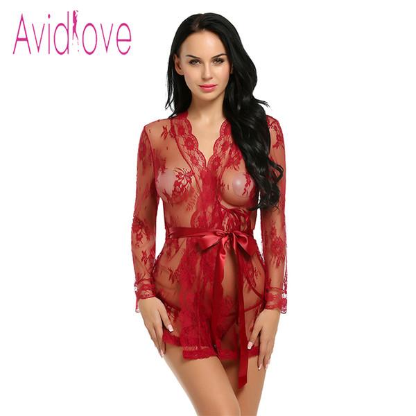 Avidlove Sexy Lingerie Robe Dress Women Lingerie Sexy Hot Erotic Plus Size Nightwear Sex Costumes Kimono Bathrobe Dressing Gown C19010801