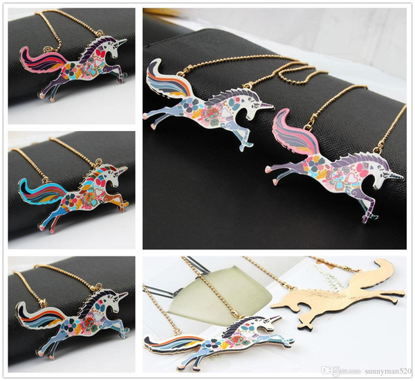 New Fashion Women Colorful Creative Unicorn Pattern Pendant Necklace Alloy Charm Jewelry Party Home Gifts Free Shipping