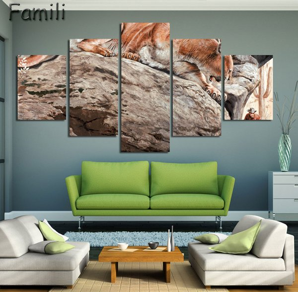 5Pcs/set Lion Canvas Prints Classical Oil Painting Picture Printed On Canvas Unframed Modern Abstract Wall Painting