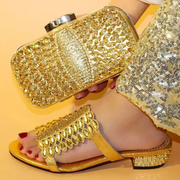 Güzel altın kadın rhinestone ve büyük kristal ile sandalet afrika ayakkabı parti elbise V0730 için maç çanta set, topuk 3.8 cm