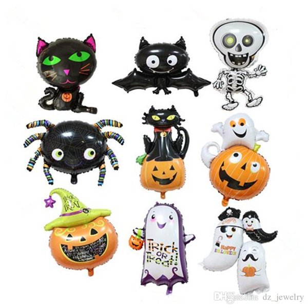 2018 Halloween Pumpkin Ghost Black Bat Balloons Halloween Decoration Spider Foil Balloons Inflatable Toys Bat Globes Party Supplies
