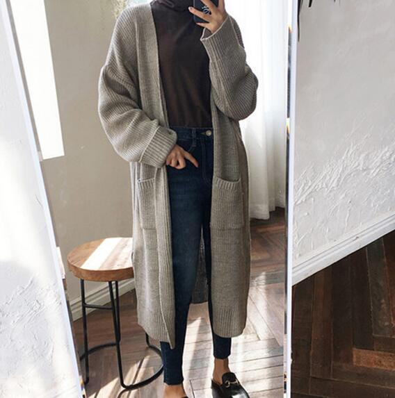 Fashion Long Cardigan Women 2019 Fashion Harajuku Loose Knit Sweater Women Casual Black Oversized Jacket Coat Autumn
