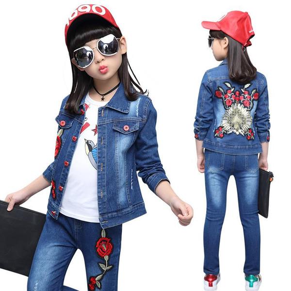 Девушки комплекты одежды осень девушки подросток одежда джинсы пальто рубашка 3шт дети спортивный костюм дети джинсовый набор цветы наряды костюмы
