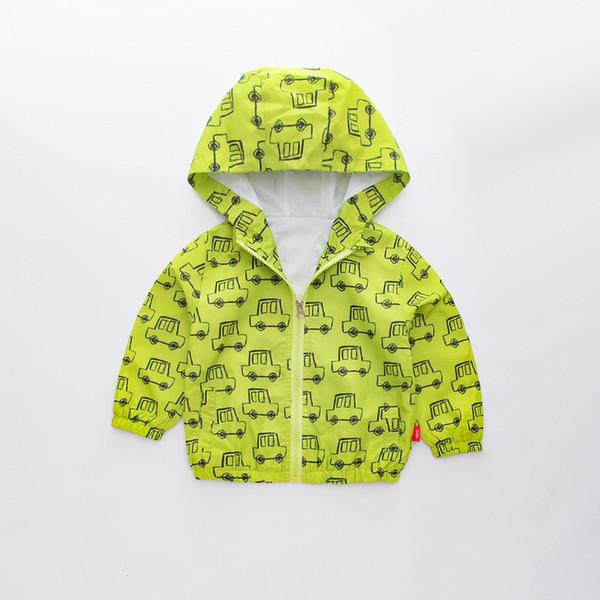 Осень Мода Baby Boy Куртка Печати Автомобиль Мода Мальчик Пальто Молния Мальчик Outerwea