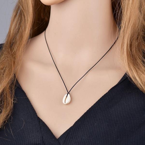 expédition rapide collier simple coréen mode rétro bohême chaîne corde style vintage collier pendentif coquille blanche été bijoux plage