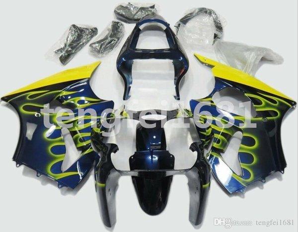 Nuovo stampo a iniezione ABS Kit carenature del motociclo per 2000 2001 2002 Kawasaki Ninja 636 ZX6R moto carenatura personalizzato fiamma Blu Giallo