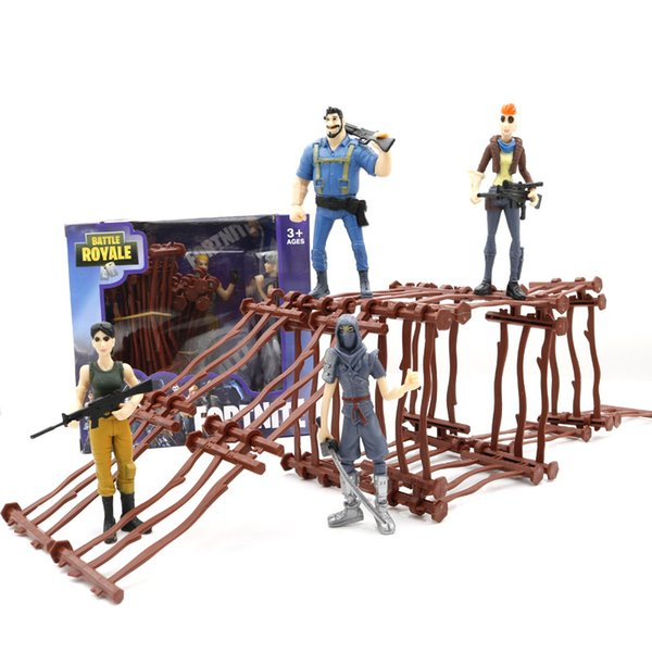 16pcs Fences And 2 Dolls/Box Fortnite Series Game props Fortress Night butt strap With Dolls DIY Toys Kid Gift