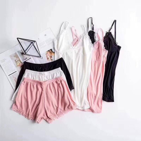 Cotton Pajamas For Women Sexy Ladies Lace Night Wear Set Nighties Shorts Pyjama Femme Pink Deep V Sleepwear Lingerie Pajama Set J190712
