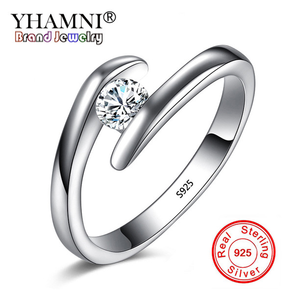 YHAMNI Solid Pure 925 Sterling Silver Rings for Women Zircon CZ Stone Finger Ring Wedding Jewelry Valentine Gift YR200
