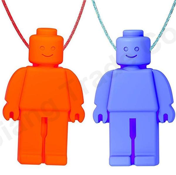 Forma de robot Mordedores de bebé Infantil Chupetes Dentición Cuello Colgante Masticar Juguete de Silicona de Calidad Alimentaria Para Niños Regalos de Cuidado Dental A61402